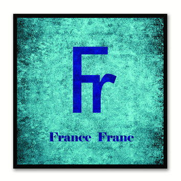 France Franc Money Currency Aqua Canvas Print with Black Picture Frame Home Decor Wall Art Collection Gifts