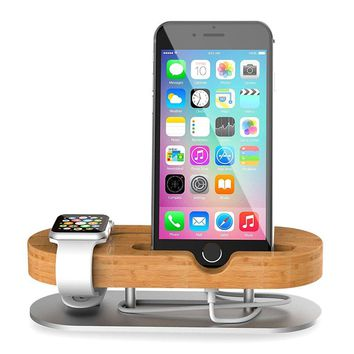 TechVibe Apple Watch Stand, Wood & Aluminum Charging Stand Bracket Docking Station Cradle Holder for iPhone 7/6s/6/5s and Apple Watch 38mm 42mm Series 1 Series 3 -Brown