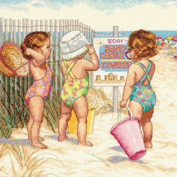 "Dimensions Counted Cross Stitch Kit 14""X11""-Beach Babies (14 Count)"