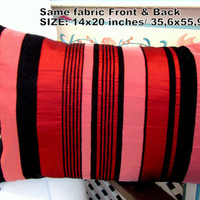 Long pink striped pillow – Black velvet lumbar cover 14x22