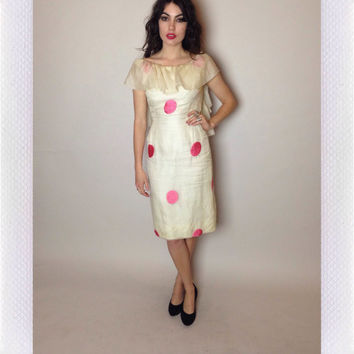 60's FLIRTY PARTY DRESS - embroidered polka dots - white and pink - low back - ruffles - small