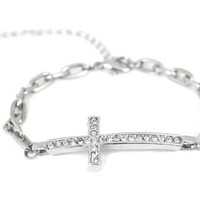 Silver Tone Horizontal Side Cross Bracelet for Women Cross Pave Sparkling Diamond Cut Crystal Elegant Trendy Fashion Jewelry