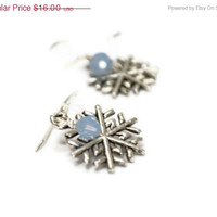 CHRISTMAS SALE Snowflake Earrings, Blue Winter Wonderland,  Winter Fashion, Sterling Silver,  Frosted, Holiday Inspired,  Gift for Her Unde
