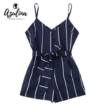 AZULINA Women Playsuits Striped Belted Spaghetti Strap Romper Casual Beach Girls Clothes Short Jumpsuits Women'S Clothing S-XL