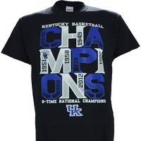 "University of Kentucky: ""UK Basketball 8 Time National Champions"" on Short Sleeve Black"