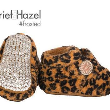 DCCK8X2 Bixbee Leopard UGG Booties - Infant with Swarovski crystal covered sole