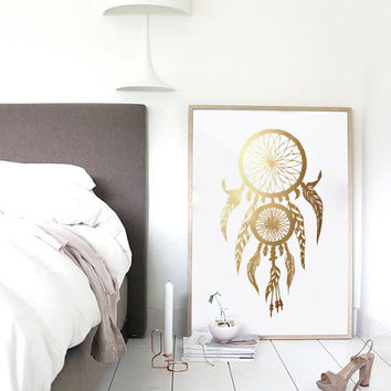 Dreamcatcher Print, Real Gold Foil Poster, Gold Dreamcatcher, Dreamcatcher Poster, Wall Art, Gold Foil Art, Wall Decor, Bedroom Art.