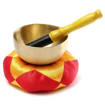 PHFU-Tibetan Buddhism Meditation Healing Hand Hammered Brass Singing Bowl Cushion Set