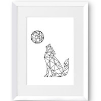 Wolf, Moon, Polygon, Swedish, Home Decor, Contemporary, Modern art, Scandinavian Print, Printable art, Digital Print