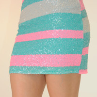 DJ Play That Song Skirt: Pink/Turquoise
