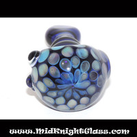 READY 2 SHIP Cobalt Blue Honeycomb Spoon Style Glass Pipe w Marias and Flat Mouth Smoking Bowl Blown by Jeffre Fresh of MidKnightGlass