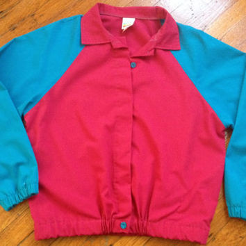 Vintage Wrangler Jacket Multi-Color Colorblock Jacket Magenta Turquoise Blue Jacket sz L (fits small)