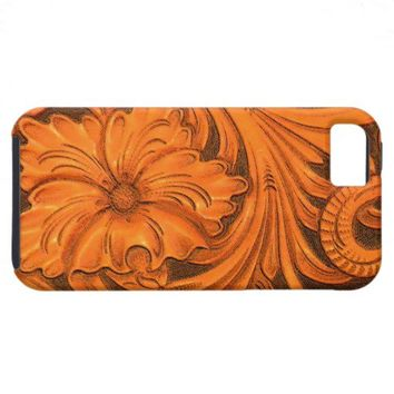 Faux Floral Tooled Leather iPhone 5 Case-Mate from Zazzle.com