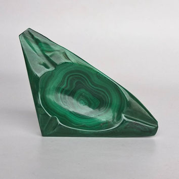 Vintage Malachite Ashtray / Bowl / Green Stone Tray