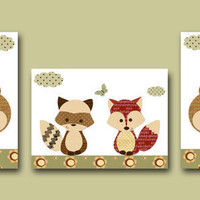 "Baby Boy Room Decor, Nursery print set of 3 8"" x 10"" ,fox,bear,badger,green,red,decoration,illustration"