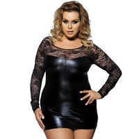 Lace & Leather Plus Size Dress