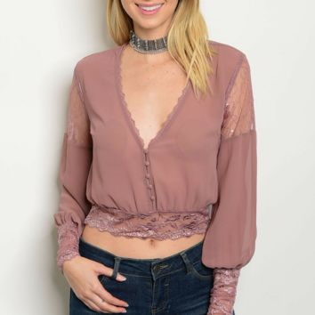 Cropped Mauve Lace Button Blouse