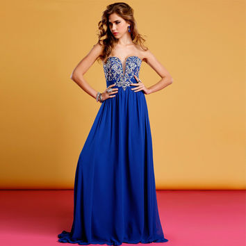 Sweetheart A-Line Prom Dress,Blue Prom Dresses,Long Evening Dress