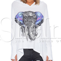 White Hooded Long Sleeve Elephant Print T-Shirt