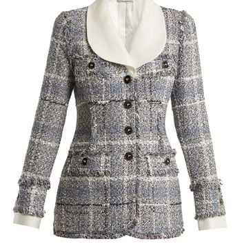 Tweed contrast-collar jacket | Alessandra Rich | MATCHESFASHION.COM US