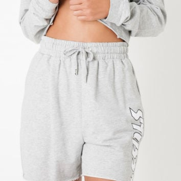 Stussy More Life Cut Off Shorts in Grey