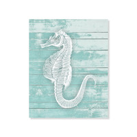 Seahorse Sea Horse Print Wood Rustic Art Beach Nautical Print Beach House Sea Ocean Print 5x7, 8X10, 11x14 Home Decor Wall Decor Nautical