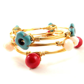Turquoise Stones, Coral Stones and Crystals Bangle Set