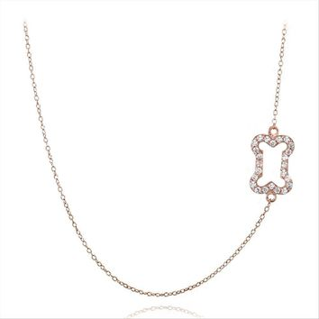 Rose Gold Tone over 925 Silver CZ Dog Bone Chain Necklace, 18'