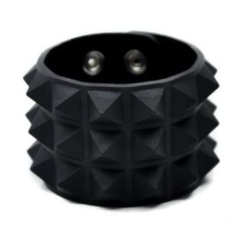 ac spbest 3 Row Black Pyramid Stud Rubber Wristband Vegan Friendly