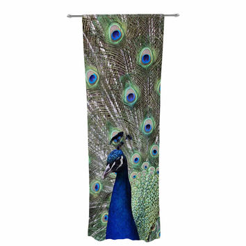 "Qing Ji ""Peacock of Stunning Feathers"" Brown Green Decorative Sheer Curtain"