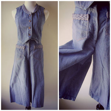 70s denim culotte vest set | vintage 1970s wide leg pants | high waist | fitted denim vest | hippie boho | xs/s | cropped jeans | jean vest