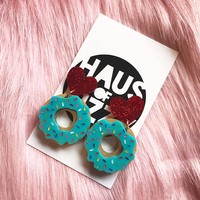 BABY DONUT EARRINGS - BLUE