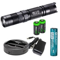NITECORE P12 1000 Lumens 2015 version high intensity CREE XM-L2 LED long throw tactical Flashlight, Olight Omni-DOK Universal Battery Charger, Olight 18650 3400mAh Li-ion rechargeable battery with two EdisonBright CR123A Lithium Batteries