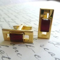 Vintage Art Deco Cuff Links by Foster Pat. Pending,Gold and Ruby Red