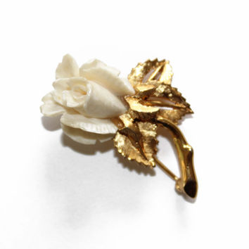 D'Orlan Carved Bone Rose Brooch - Faux Ivory Rose Brooch - Boucher Designed Flower Brooch