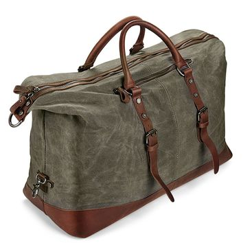 Duffel carry on weekender travel waxed canvas with leather trims