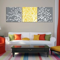 Large Wall Art Tree Silhouettes on Canvas; Home or Office Decoration | Canvas TREE Gray and Yellow Colour Photo Print