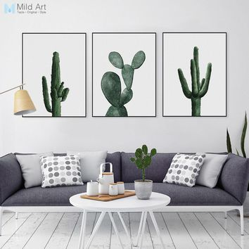 Nordic Watercolor Green Cactus Plant Poster Print Hipster Floral Wall Art Picture Modern Home Deco Canvas Painting Custom Gift