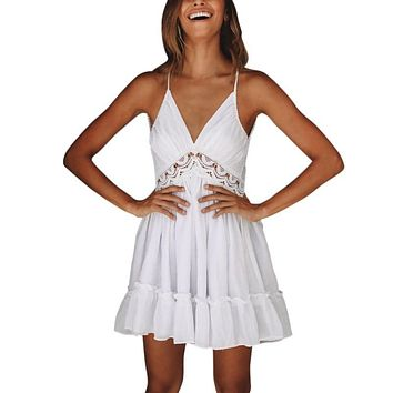 EFINNY Sexy Crochet Solid Strap Backless Work Party Mini Dresses Lace Pleated Dress Ruffles Vestidos
