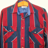 Mens Vintage Striped Flannel Buttondown Shirt