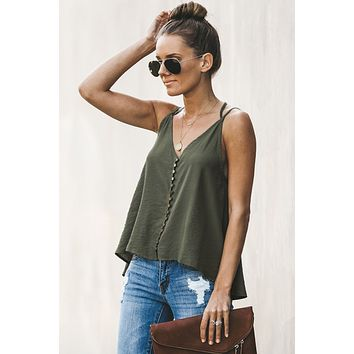 Trendy Green Good To Button up Open Back Cami Tank