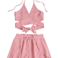 Seersucker Striped Wrap Top and Shorts Set