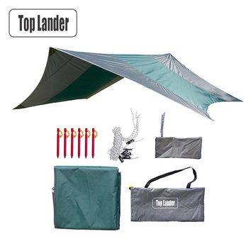 Ultralight Camping Tent Tarp Waterproof Super Large Hammock Rain Fly Portable Awning Canopy Tent Beach Shade with Pegs Ropes