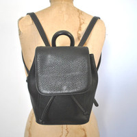 COACH Backpack Bookbag Purse / Black Pebbled Leather