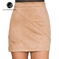 Autumn Style Casual Mini Skirt Suede Leather High Waist Sexy Pencil Zipper Split Short Bodycon Women Skirts