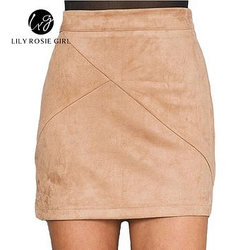 2016 Autumn Style Casual Mini Skirt Suede Leather High Waist Sexy Pencil Office Work Zipper Split Short Bodycon Women Skirts