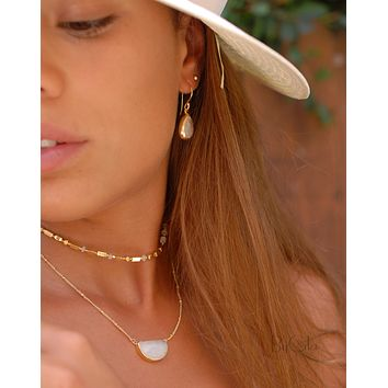 Celeste Half Moon Necklace - Moonstone