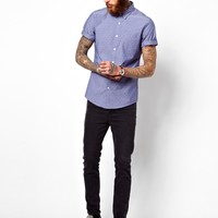 ASOS Chambray Dobby Shirt In Short Sleeve