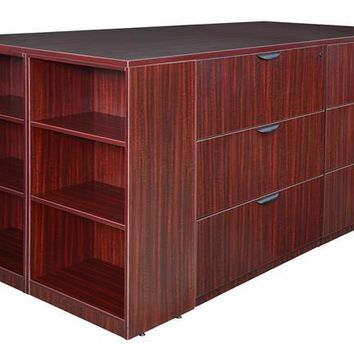 Legacy Stand Up 2 Lateral File/ Storage Cabinet/ Desk Quad with Bookcase End- Mahogany