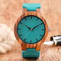 Fashion Blue Wooden Bamboo Quartz-watch Genuine Leather Strap Nature Wood Wristwatch Creative Gift for Men Women Reloj de madera